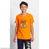 Dětské pyžamo kapri Traktorbagr - oranžová