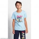 Dětské pyžamo kapri Traktorbagr - světle modrá