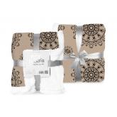 FARO Fleece deka s beránkem ornamenty hnědá  Polyester, 150/200 cm