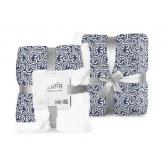 FARO Fleece deka s beránkem listy modrá  Polyester, 150/200 cm