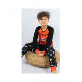 Dětské pyžamo dlouhé Vesmír oranžová