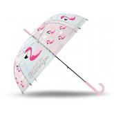 Vystřelovací průhledný deštník Plameňák