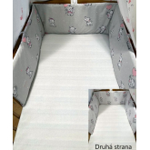 SDS Mantinel do postýlky Sloníci šedá/Sloníci bílá  Bavlna, výplň: Polyester, 195/28 cm