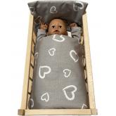 SDS Peřinky do postýlky pro panenky Srdíčka šedá Bavlna, výplň: Polyester, 1x 38x44 cm / 28x20 cm