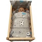 SDS Peřinky do postýlky pro panenky Zvířátka modrá Bavlna, výplň: Polyester, 1x 38x44 cm / 28x20 cm