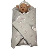 SDS Rychlozavinovačka pro panenky Jednorožec šedá/Puntíky šedá Bavlna, výplň: Polyester, 1x 60x60 cm