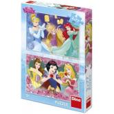 DINO Puzzle 2x77 dílků Disney Princezny skládačka