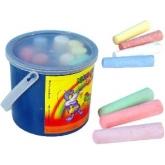 Křídy chodníkové barevné kulaté Set 15ks v plastovém kyblíku